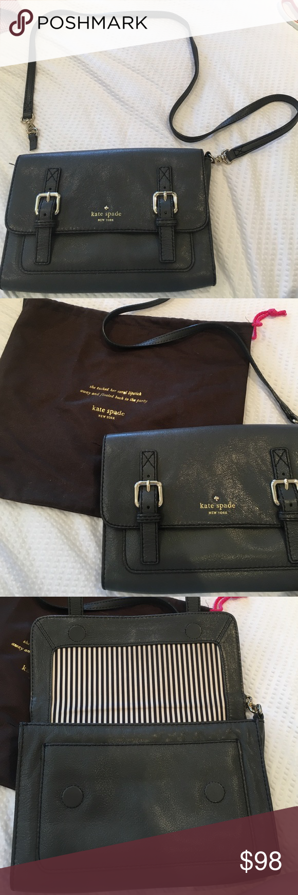 Kate Spade charcoal cross body bag Strap is broken but otherwise in great condition. Comes with dust bag. kate spade Bags Crossbody Bags