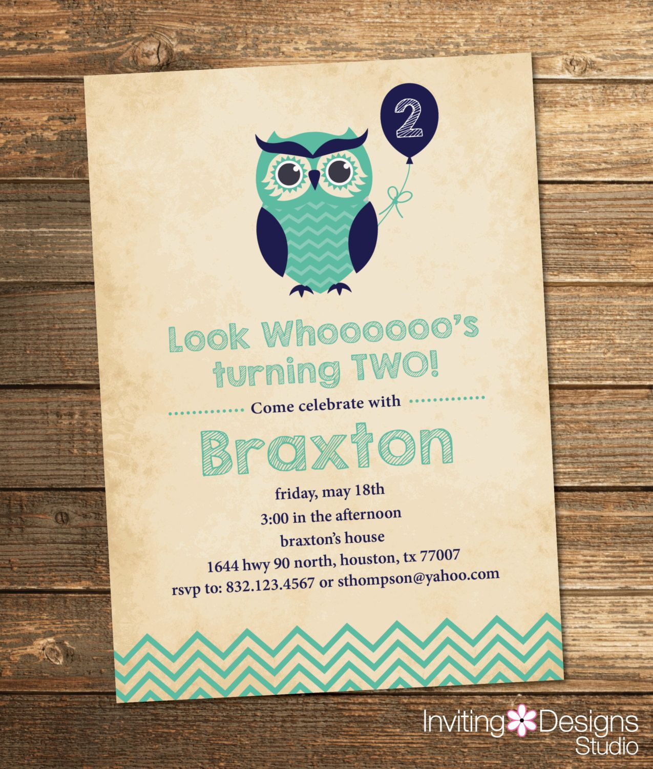 Owl Birthday Invitation, Second Birthday, First Birthday, Birthday ...
