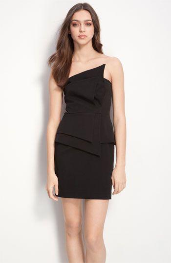 Black Strapless Sheath Dress