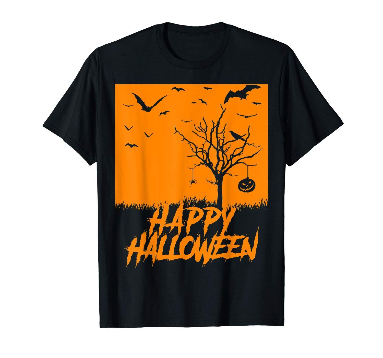 Happy Halloween, Bats, Pumpkin, Spooky Scene, Crows, Spider T-Shirt #spookyoutfits