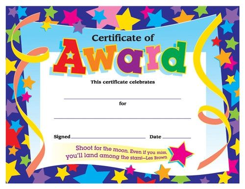 Certificates for All Ages, Certificate of Award Awards and