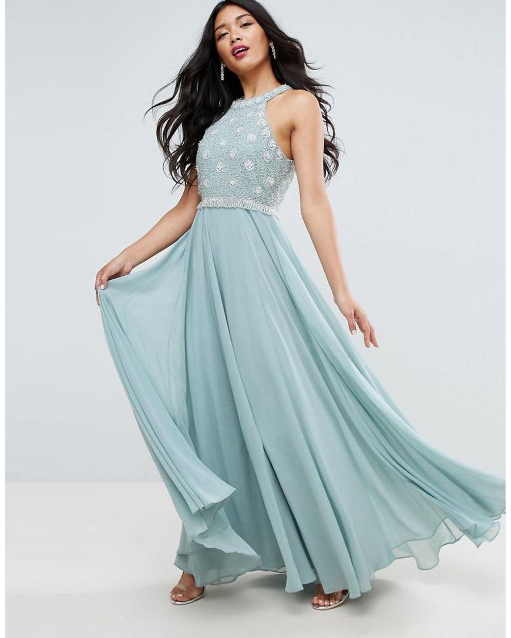 Buy ASOS Women\'s Blue Cutaway Embellished Bodice Maxi Dress ...