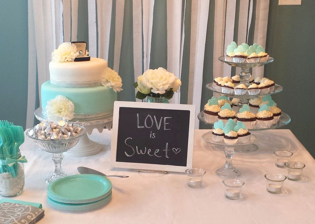 Tiffany blue engagement party dessert table by badabing for Dessert cake ideas