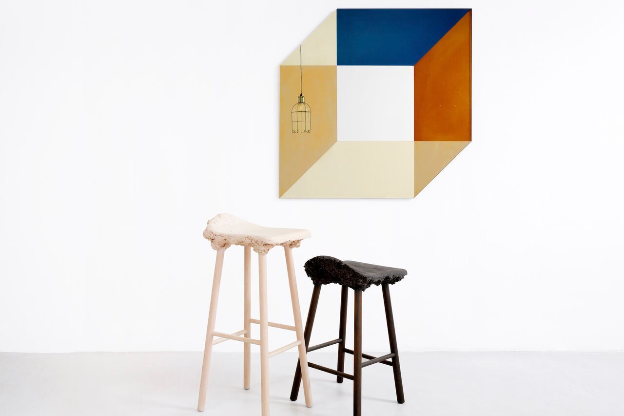 Transnatural Amsterdam. Cubic Transience Mirror designed by Lex Pott and David Derksen combined with the 'Well Proven Stools' by Marjan van Aubel and James Shaw & 'Trap Light' by Gionata Gatto & Mike Thompson