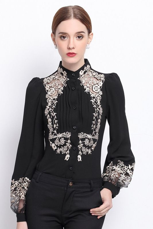 ... Chic Floral Embroidered Sheer Mesh Panel Long Sleeve Button Down Shirt  ...