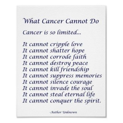 What Cancer Cannot Do Poem Poster Print Zazzlecom Cancer