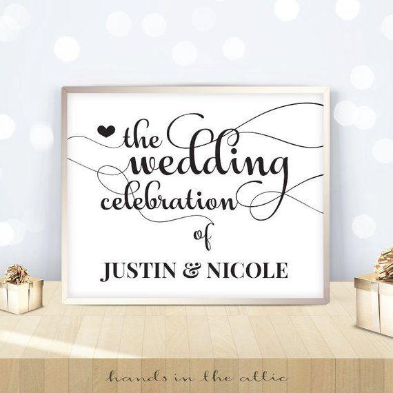 Wedding Reception Celebration Signage PRINTABLE Black And
