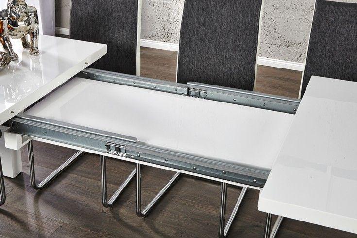 Moderner Design Esstisch Lucente 120 200cm Weiss Hochglanz