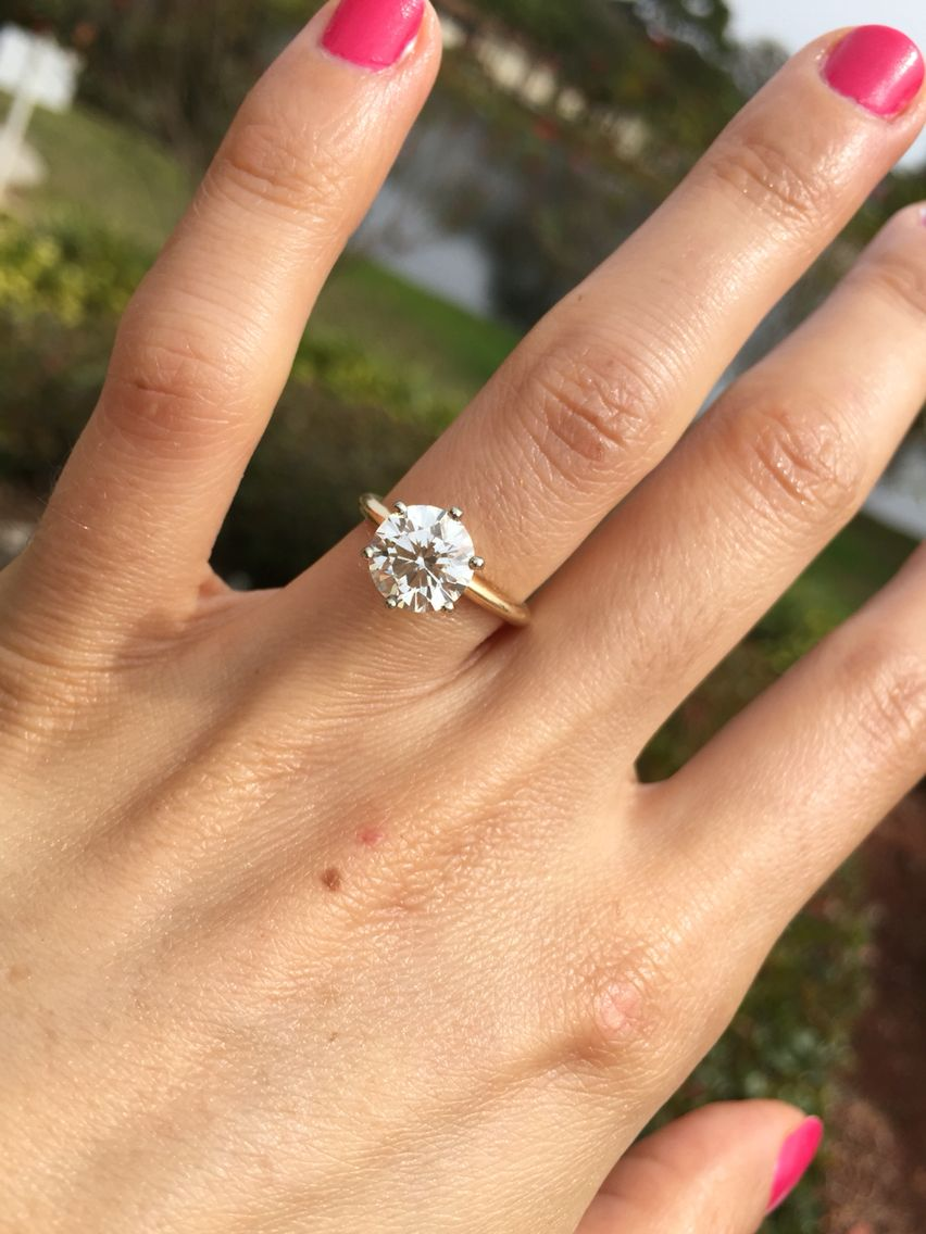 My engagement ring! Round brilliant solitaire 6 prong 14k ...