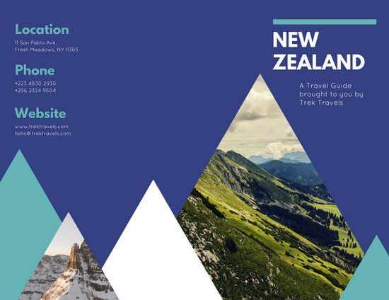 Mountains Photo Blue Travel Trifold Brochure Canva Inspiration - Travel guide brochure template