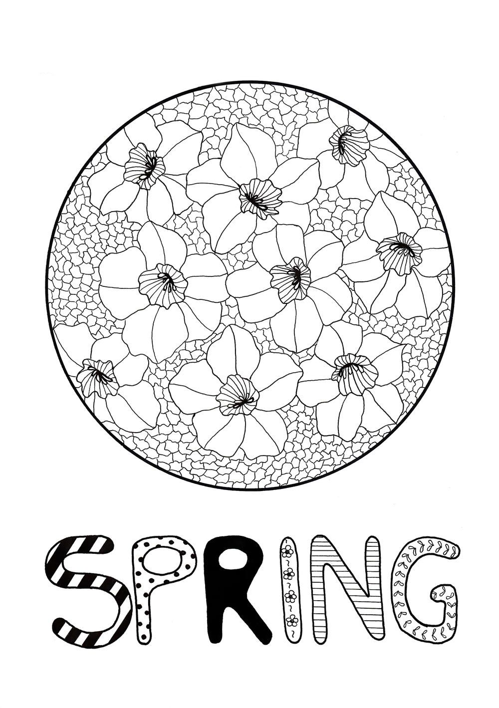 A free floral coloring page to celebrate the start of spring favecrafter coloring adultcoloring