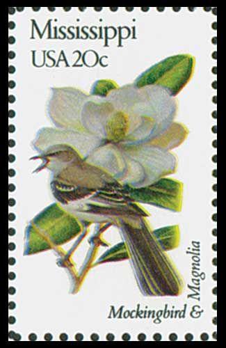 1982 Mississippi State Stamp - State Bird Mockingbird - State Flower Magnolia Blossom.