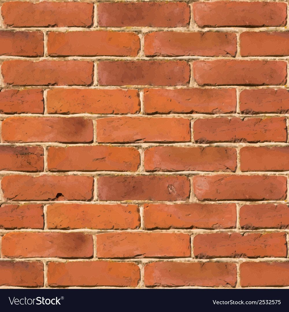 Red Brick Wall Seamless Texture Vector Image On Vectorstock In 2020 Red Brick Walls Seamless Textures Texture Vector