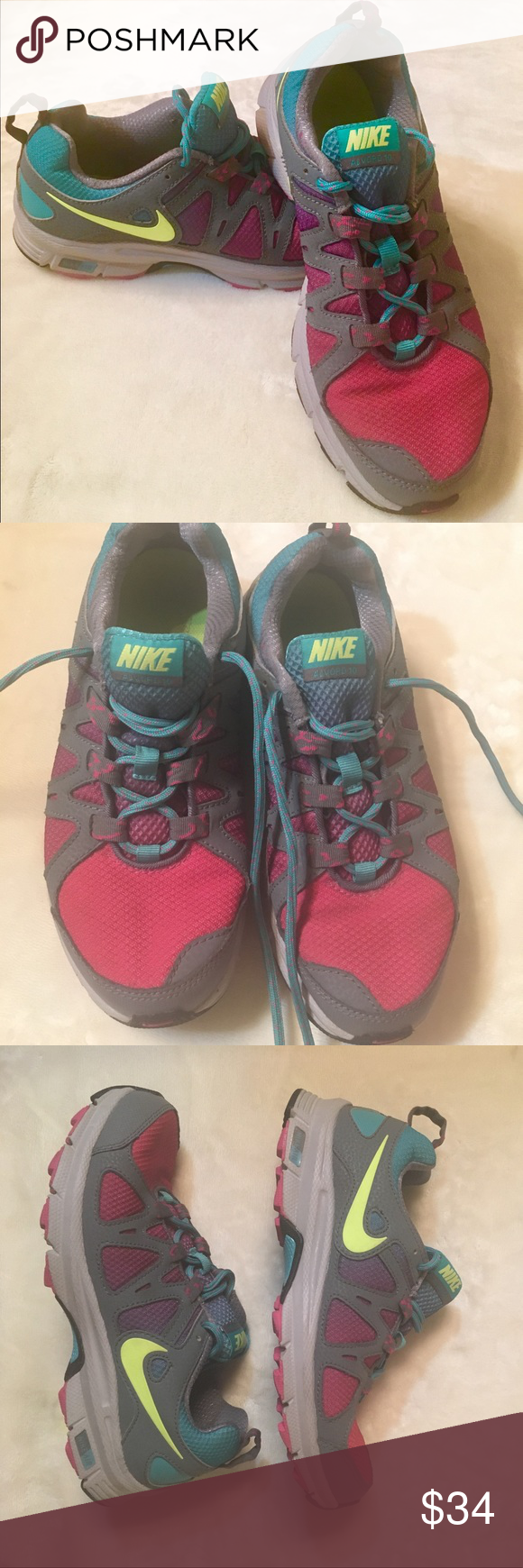 Nike Alvord 10 running shoes Nike Alvord 10 shoes. Women's size 7.5. Colors  are neon yellow check mark, hot pink front and turquoise shoelaces and  ankle ...