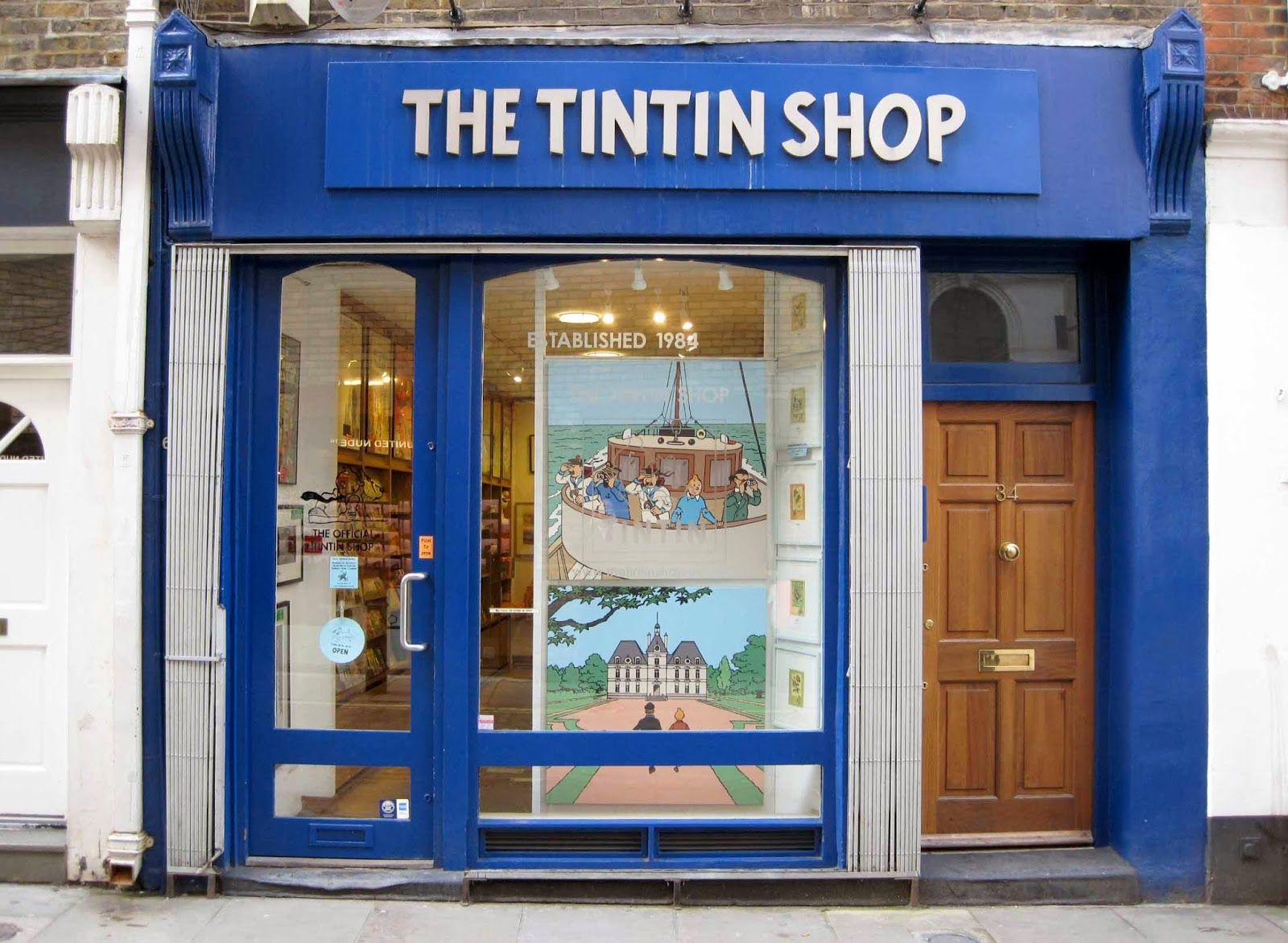 Tintin Shop Started in 1984, this is the place for books, posters, figures, bags and clothing - in fact, anything that can bear a Tintin logo or likeness of one of Hergé's characters. Extra points if you know that Hergé is one of that long list of famous Belgians.  34 Floral Street WC2 Tel: +44 (0)20 7836 1131 www.thetintinshop.uk.com