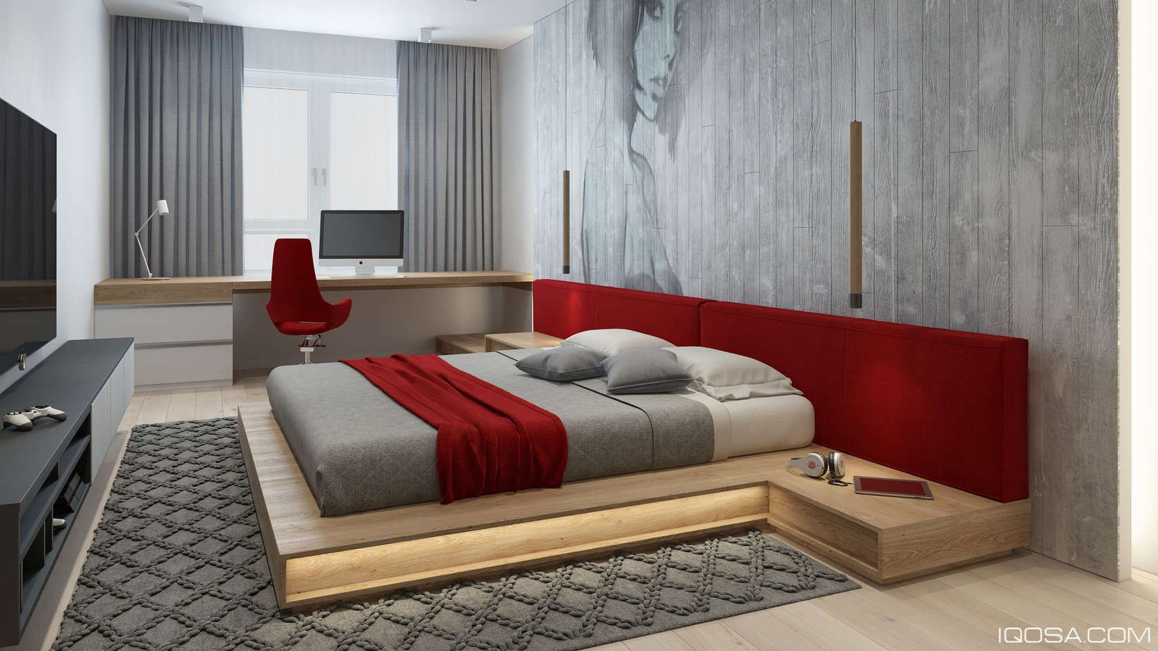 An Approachable Take On Luxury Apartment Design Bedroom Red Gray Master Bedroom Master Bedroom Colors