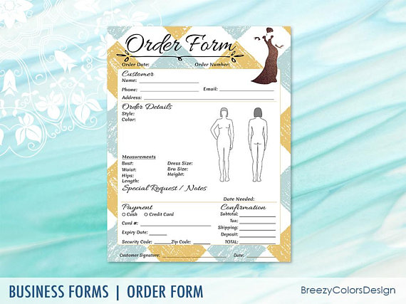 Dress Order Form 8 5x11 Inches Breezy Colors Design Order Form Template Order Form Custom Made Clothing