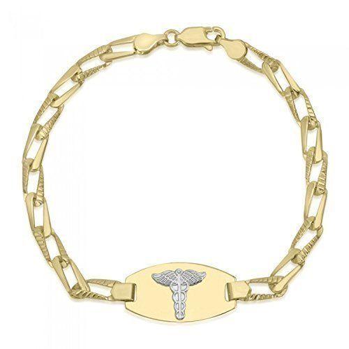 10k Yellow Gold Medical Alert Bracelet Medical Data Engraving Available Open Link High Polished Medic Alert Bracelets Alert Bracelet Medical Bracelet