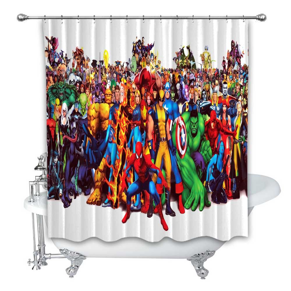 New Best Marvel Comics Character Custom Shower Curtain 100 Polyester Marvel Comic Character Custom Shower Curtains Marvel Comics