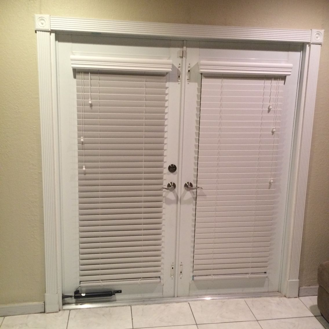 Horizontal Wood Blinds mounted in French Door glass frame Home
