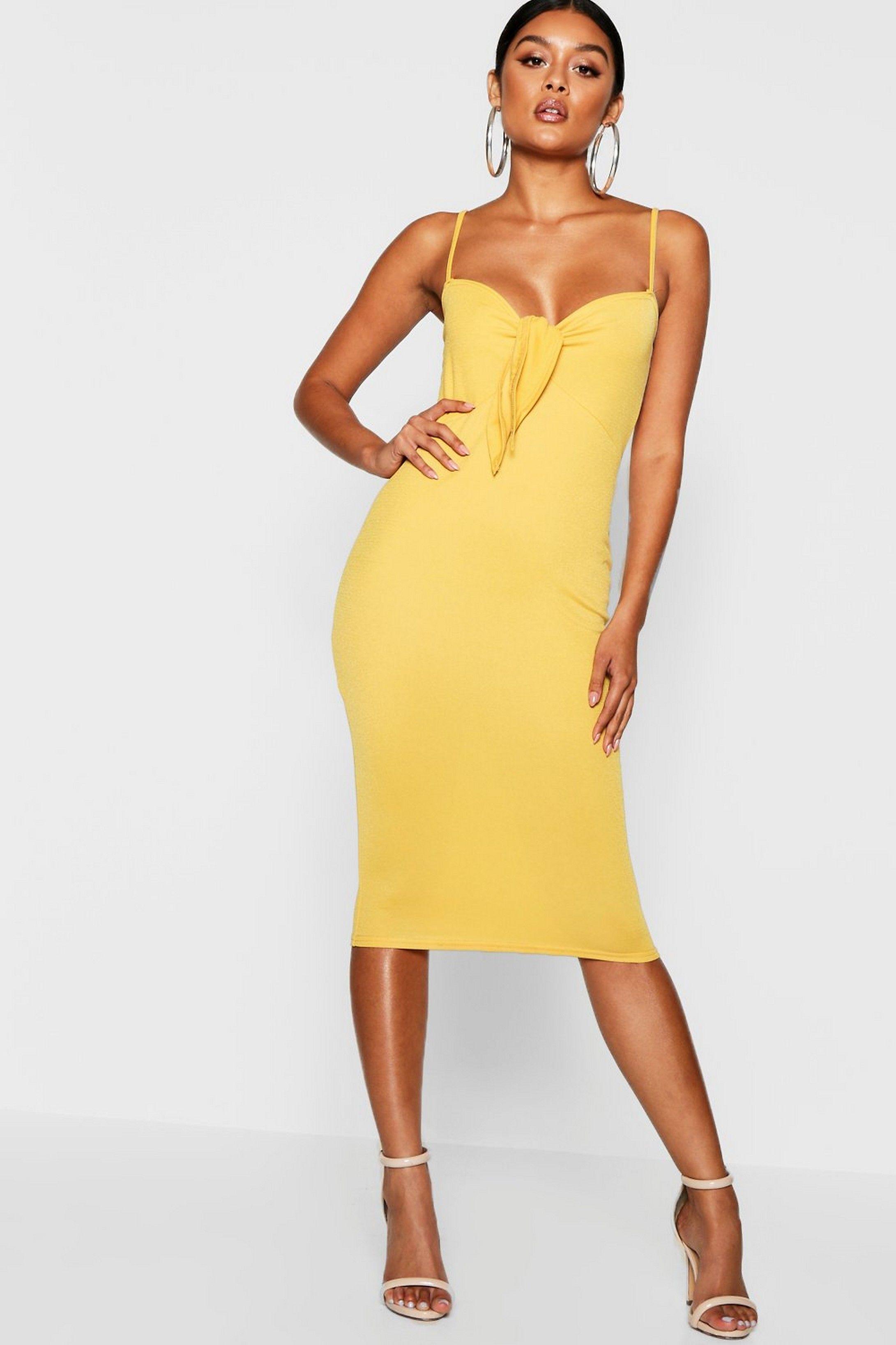 Women S Skinny Strap Tie Front Midi Dress Boohoo Uk Yellow Midi Dress Midi Dress Strappy Midi Dress [ 3272 x 2181 Pixel ]