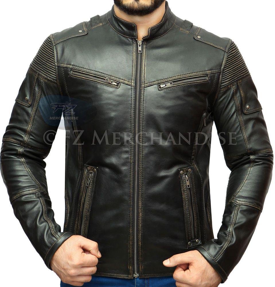 SALE Women's Motorcycle Vintage Distressed Biker Black Real Leather Jacket