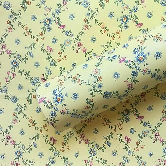 Amazon Com Poetryhome Vintage Yellow Floral Shelf Drawer Liner Self Adhesive Contact Paper Wallpaper For Kitchen Drawer Liner Vintage Yellow Kitchen Wallpaper