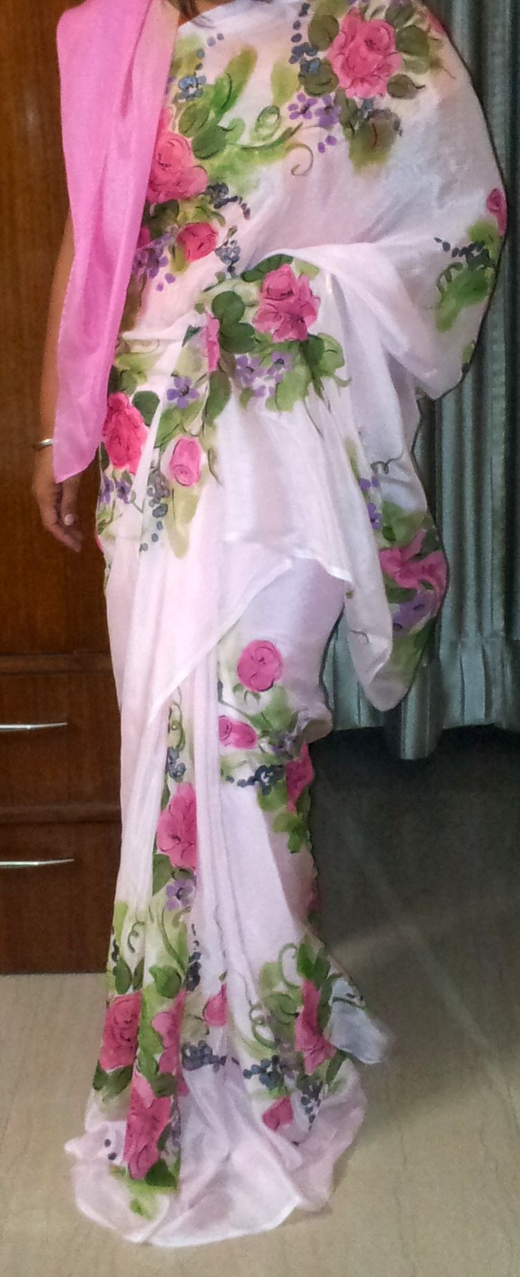 Hand Painted Saree Love The Colours And The Flowers