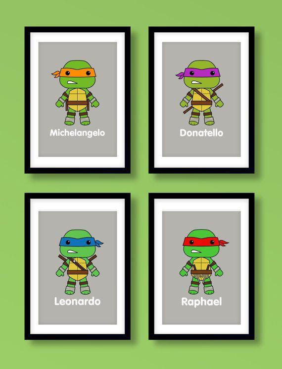 Teenage Mutant Ninja Turtles inspired wall art, boys wall art ...