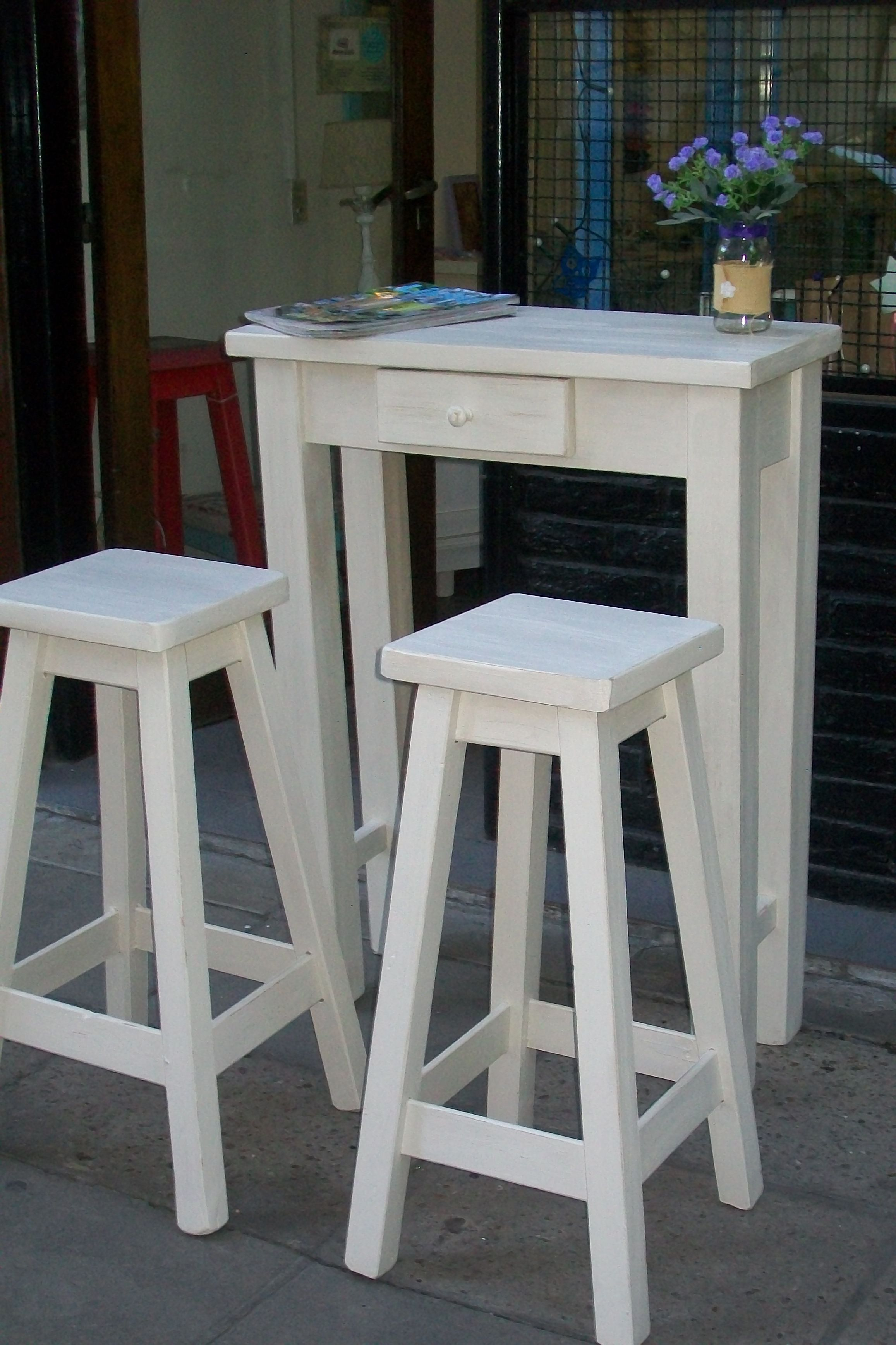 Mesa de arrime o barra desayunadora en combo con dos - Mesa cocina con taburetes ...