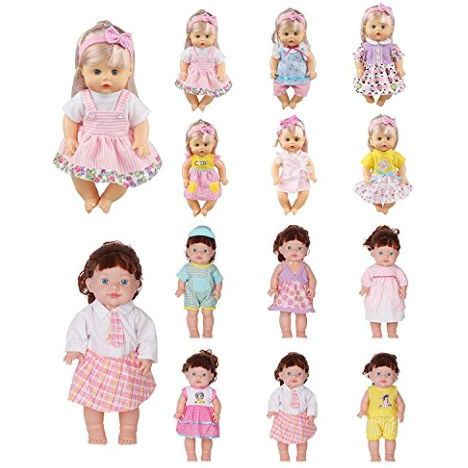 Huang Cheng Toys 12 13 14 15 16 Inch Set Of 12 Handmade Alive Lovely Baby Doll Clothes Dress Outfits Costumes Dolly P Baby Doll Cradle Doll Carrier Doll Cradle