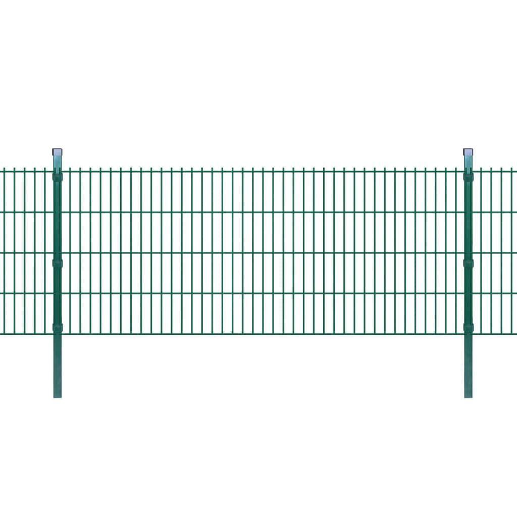 Vidaxl 2d Panele I Slupki Ogrodzeniowe 2008x830 Mm 4 M Zielone In 2020 Doppelstabmattenzaun Gartenzaun Zaun