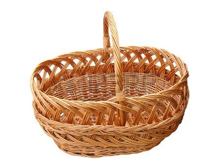 empty wooden basket isolated over white background