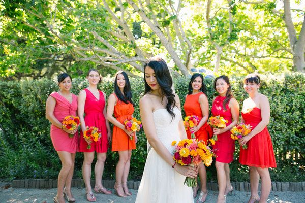 bd0cbacb46f7 Mismatched #orange and #pink #bridesmaid dresses (Photo by Emily Takes  Photos)