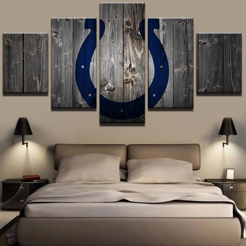 Photo of Indianapolis Colts Football Canvas Barnwood Style – Large / Unframed