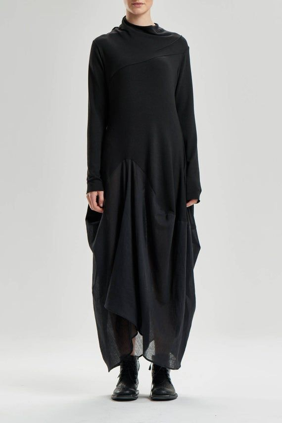 Schwarze Maxi-Kleid / handgemachte lose Kleid ...
