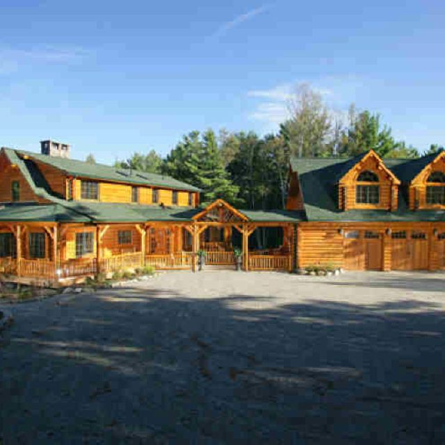 Log cabin home with attached garage ideas that i like for Log home garage