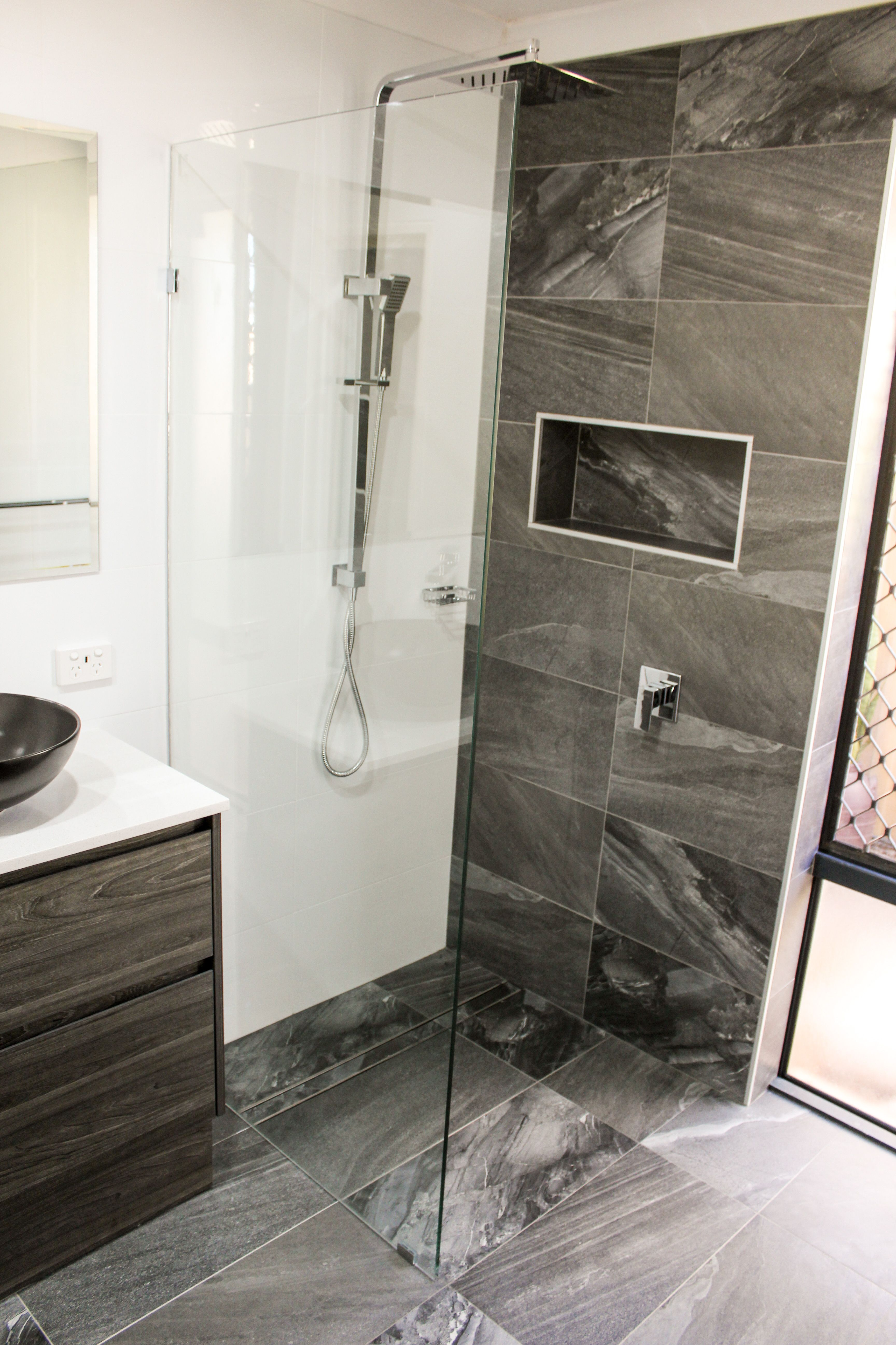 Fixed Shower Screen Feature Wall Charcoal Bathroom