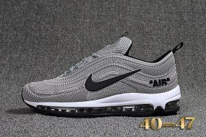 9ac018a8a4 Mens Off White X Nike Air Max 97 Kpu Cool Grey Black White Sportswear Running  Shoes