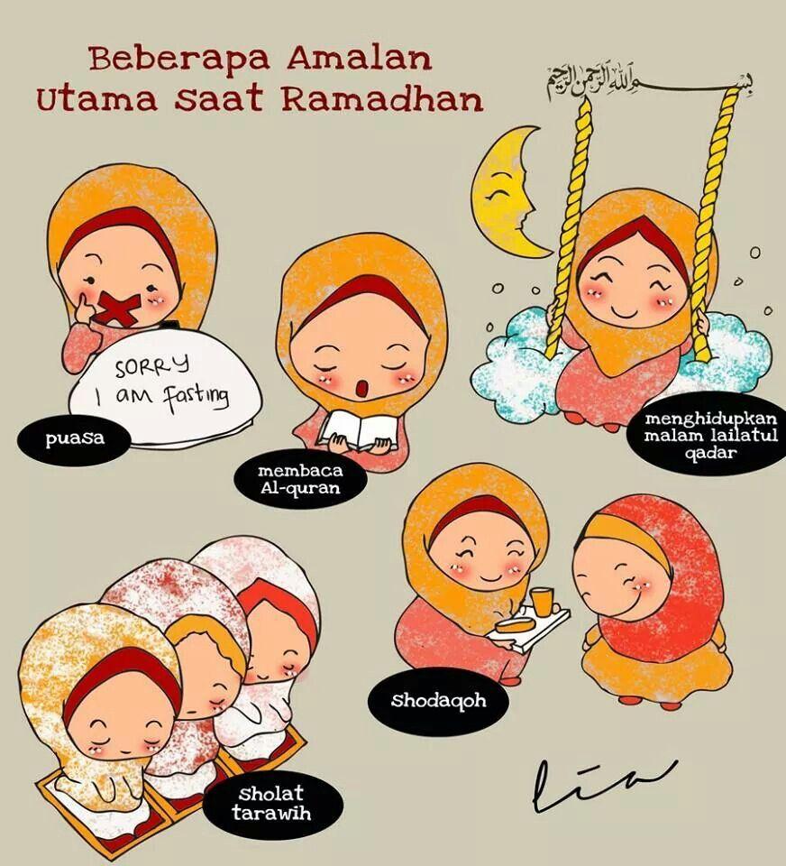 Amalan saat ramadhan kartun dakwah Pinterest Islam