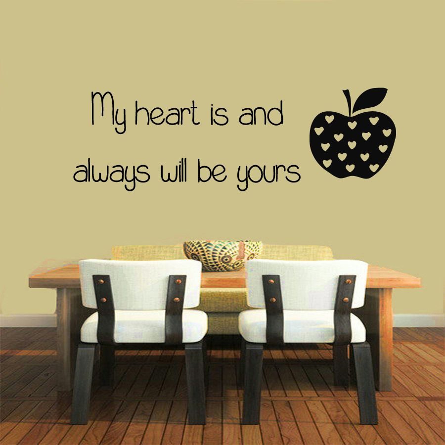 Wall Decals Quote My Heart Is And Always ..Vinyl Sticker Murals Wall ...