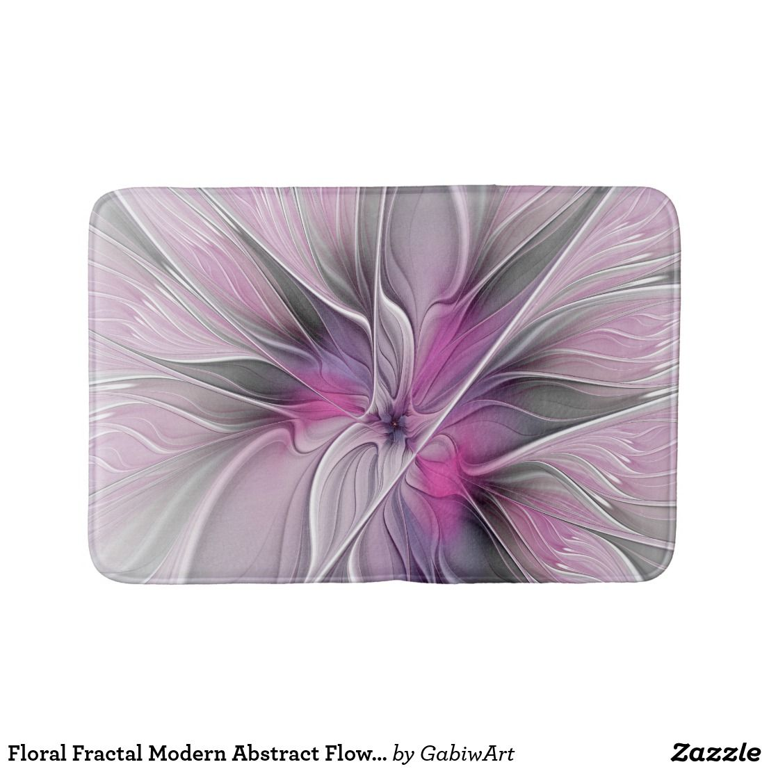 Badematte Rosa Floral Fractal Modern Abstract Flower Pink Gray Bath Mat Zazzle