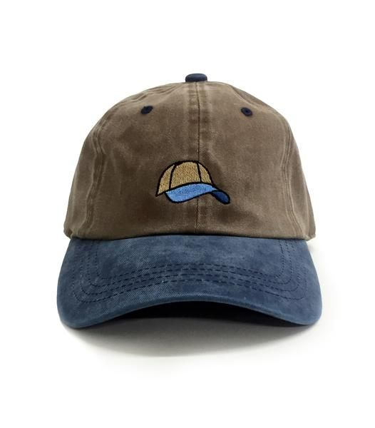 c71870840d Two tone Tan   Blue 6-Panel Dad Hat 100% Cotton Adjustable strap  Embroidered Dad Hat emblem Ships worldwide