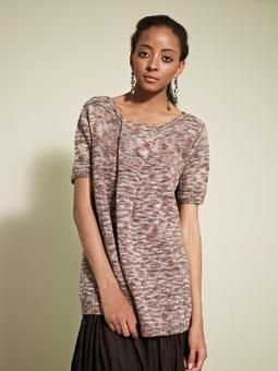 Knit this casual loose fitting 3/4 sleeve tunic top, with pleating detail on neck line.