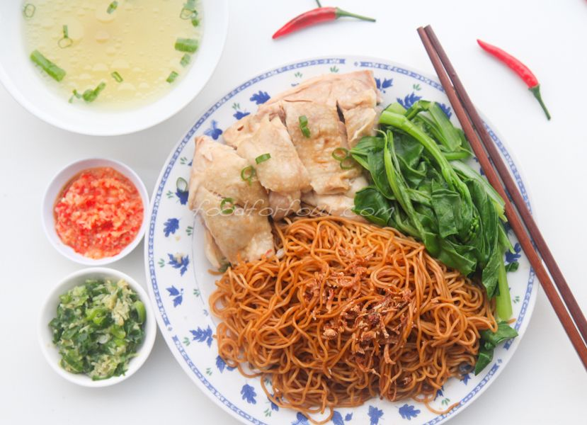 Steamed Chicken With Dry Tossed Egg Noodles