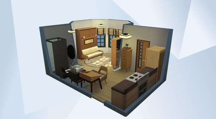 Check Out This Room In The Sims 4 Gallery Under 20k Micro Home Tier 32 Tiles Floorplan For Tiny Home Lot Just Add Walls And Do In 2020 Sims 4 Sims House Plans Sims