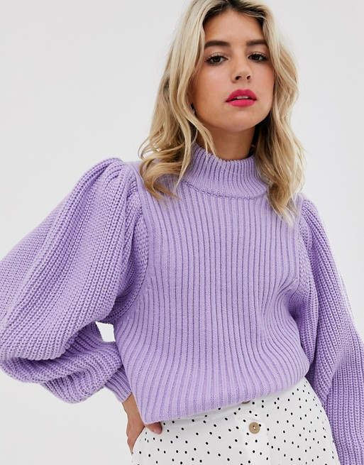 ASOS DESIGN chunky rib sweater with volume sleeve | ASOS