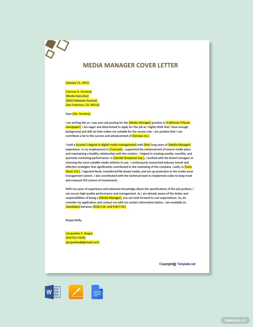 Media Manager Cover Letter Template Free Pdf Google Docs Word Apple Pages Template Net Cover Letter Template Free Cover Letter Template Lettering Cover letter template word doc