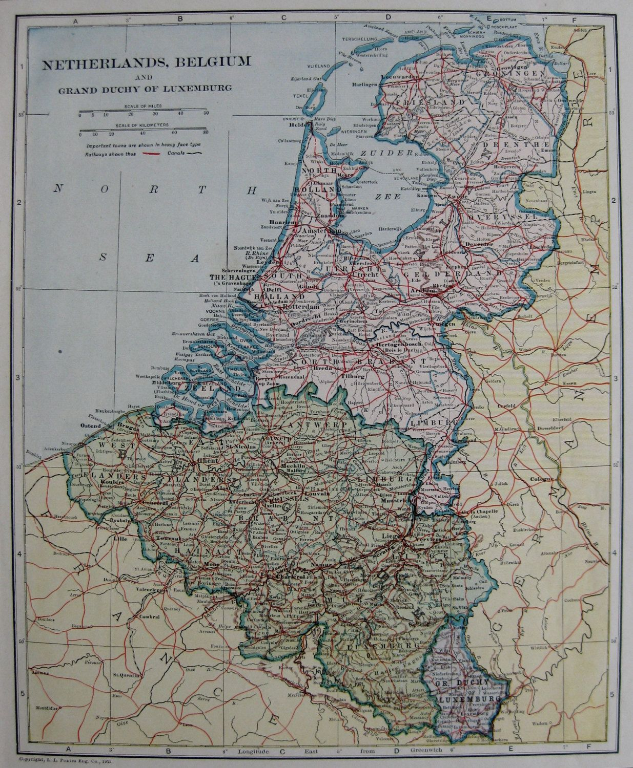 1922 Antique NETHERLANDS Map and BELGIUM Map