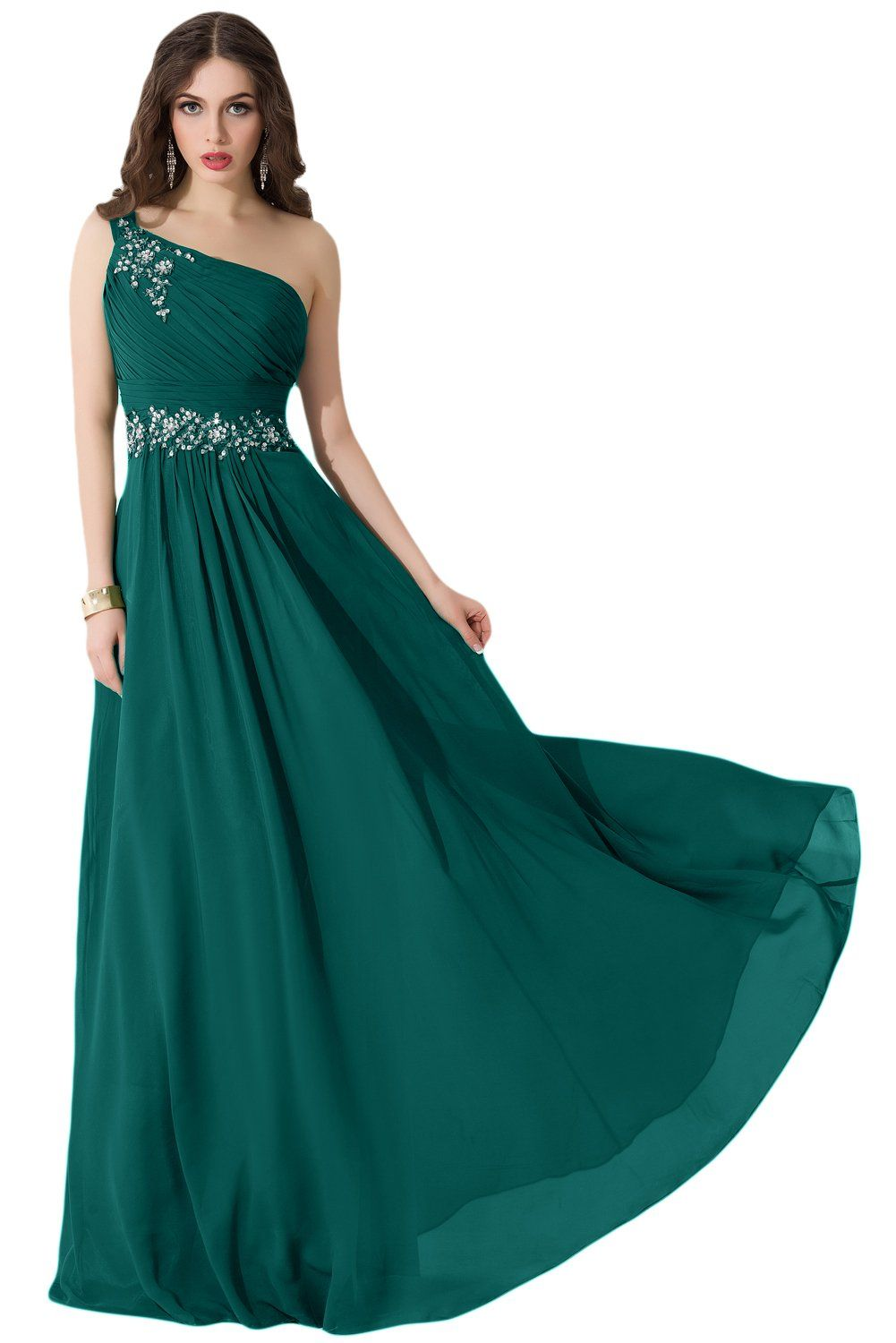 Sunvary 2015 One Shoulder Long Chiffon Bridesmaid Party Dresses Prom ...